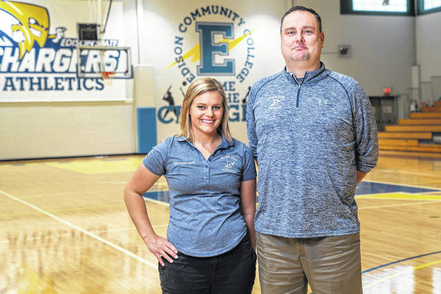 Provided photo Erin Schmerge, left, Premier Heath athletic trainer, works closely with Nate Cole, Edison State Community College athletic director, on ensuring needs of Edison State's athletes are met.