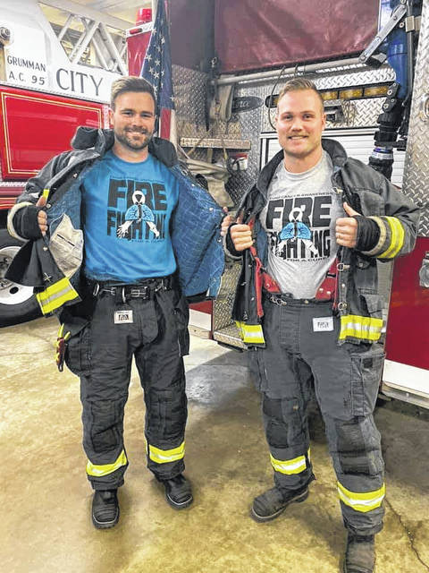Provided photo Beginning Nov. 1, firefighters will be proudly wearing their Fire Fighting For A Cure T-Shirts on and off duty.