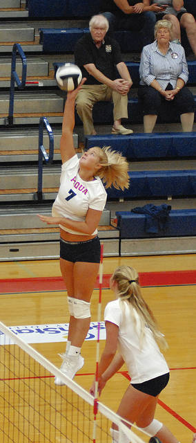 Rob Kiser|Miami Valley Today Piqua's Aubree Schrubb hits the ball against Milton-Union Monday.