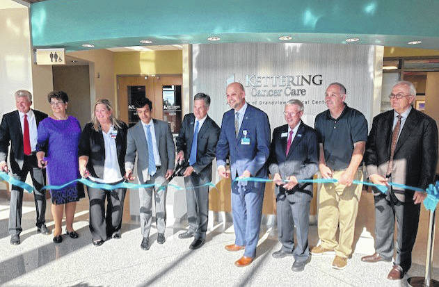 Participating in Thursday's ribbon cutting is, from left to right, Kettering Medical Center President Wally Sackett, Sen. Peggy Lehner, Clinical Director of Oncology Services for KHN Tricia Tobe, Dr. Jonathan Moayyad, Medical Oncologist Joseph Lavelle, Troy Hospital President Eric Lunde, Mayor of Troy Mike Beamish, Sen. Steve Huffman, and Kettering Health CEO Fred Manchur.