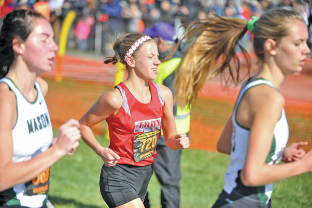 Josh Brown | Miami Valley Today Troy's Dinah Gigandet runs during the Division I state cross country meet Saturday at National Trail Raceway.