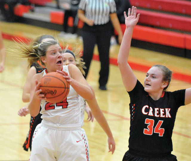 Josh Brown | Miami Valley Today Tippecanoe's Kendall Clodfelter drives to the basket as Beavercreek's Anna Landing defends Saturday at Tippecanoe High School.