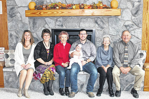 The families of Pat Hubbard and Ruth Roeth, both are celebrating five generations with a recent birth in August. Pictured are, from left, grandmother Deana Anderson, great-grandmother Cherie Roeth, great-great-grandmother Pat Hubbard, father Michael Anderson with his daughter Audrie, great-great-grandmother Ruth Roeth and grandfather Ed Roeth.