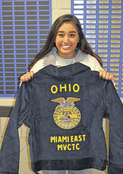 Provided photo Selected to receive a FFA jacket from Miami East-MVCTC FFA was Sumsaar Thapa, a first-year FFA member at Miami East High School.