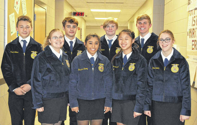 Competing in the District 5 Novice Parliamentary Procedures Career Development Event was, from left to right, front row, Sydney Brittain, Sumsaar Thapa, Dottie Everett, Ashlee Deaton, and back row, Braden Zekas, Trenton Maxson, Matthew Osting, and Isaac Beal. The team placed 8th.