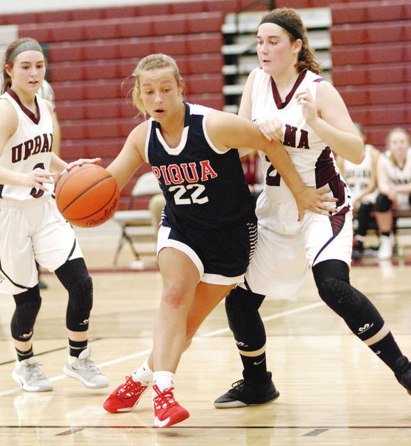 Brenda Burns | AIM Media Piqua's Tayler Grunkemeyer drives to the basket against Urbana Monday night.