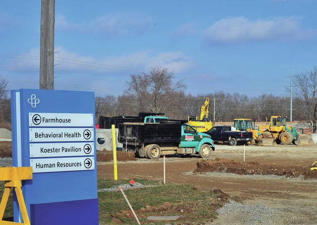 Crews from Bruns Construction continue to work on the new Hospice units at Upper Valley Medical Center on Thursday afternoon.