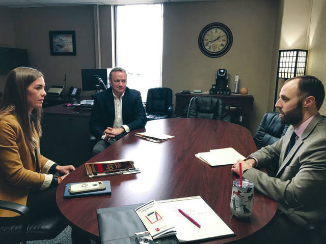 Photo provided Representative Jena Powell visits with Riverside Superintendent Brian Green, center, and Erich Bittner from the Ohio Association of County Boards on Friday, Jan. 17, to discuss issues facing the system that supports individuals with developmental disabilities and their families.