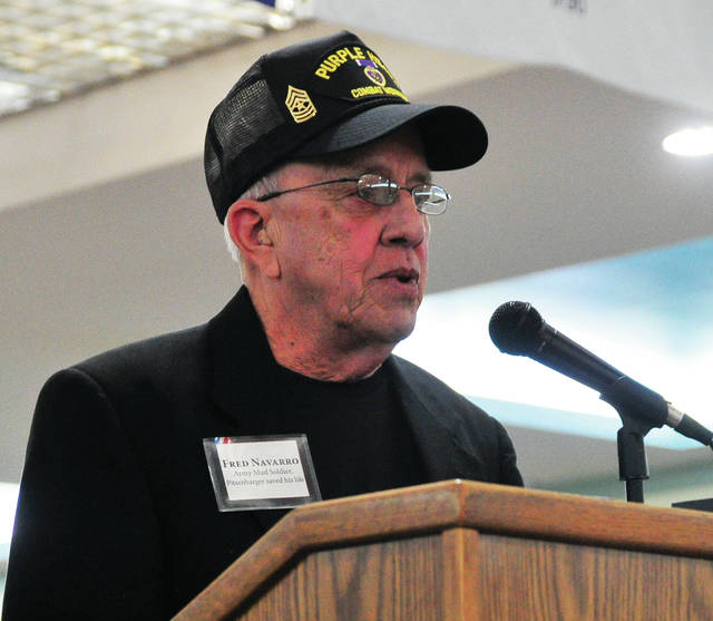 "Fred Navarro, U.S. Army Master Sgt. (retired), speaks during the Thursday movie premiere reception for ""The Last Full Measure"" at the Miami Valley Centre Mall. Navarro, was a member of Charlie Company, U.S. Army soldiers during the battle in which Piqua native William Pitsenbarger lost his life. Navarro was one of the soldiers whose life was saved by Pitsenbarger, a Medal of Honor recipient."