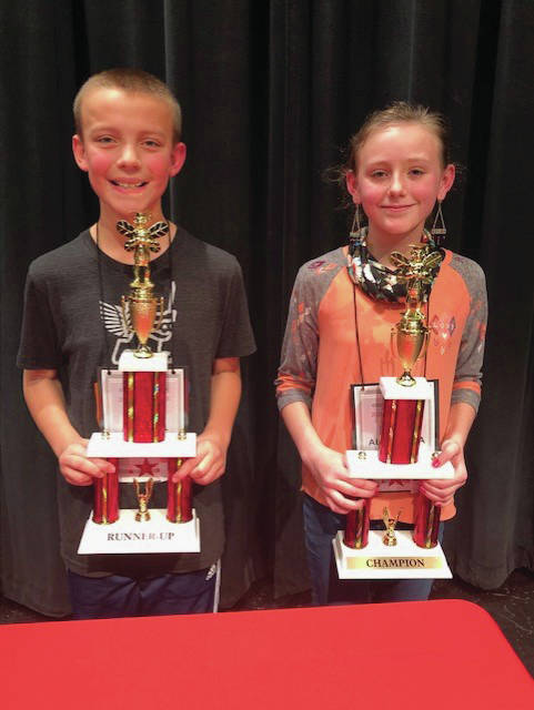 """Cookson Elementary fifth grader Alexandra Schieltz, 10, wins Troy's city spelling bee with """"insignia."""" Concord fifth grader Maxwell Erdahl, 11, was the runner-up after 30 rounds of words."""