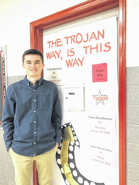 """Troy High School senior Nathan Kleptz is helping fellow students in need to have access to basic school supplies and hygiene items through the """"Trojan Closet"""" program."""