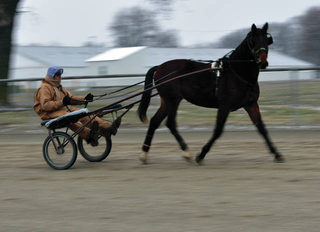Tom Morgan of Troy works out with One Apple Shy at the Miami County Fairgrounds on Thursday. Morgan and the two-year-old horse put in three miles in spite of the cold and blowing snow.