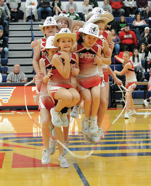 "The Troy Pop Rocks Jump Rope team performs at Garbry Gym last Friday night. The team will be making a ""home"" appearance this Friday night at the Troy High School gymnasium during the Troy/Piqua basketball game."