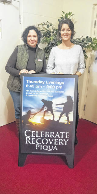 "Executive Director Rebecca Sousek, left, of the Piqua Compassion Network with lead facilitator Jerilyn Lowe (right) of Celebrate Recovery at the Piqua Compassion Network, located in True Vine Church at 531 W. Ash St., Piqua, where ""A Night of Worship"" will be held at 7 p.m. on Thursday, Feb. 13."