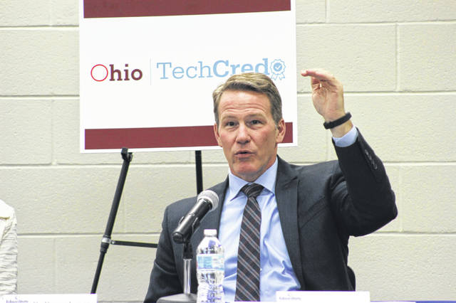 Lt. Gov. Jon Husted explains the pros of the Ohio TechCred program at a roundtable discussion he led Monday afternoon at Edison State Community College in Piqua.