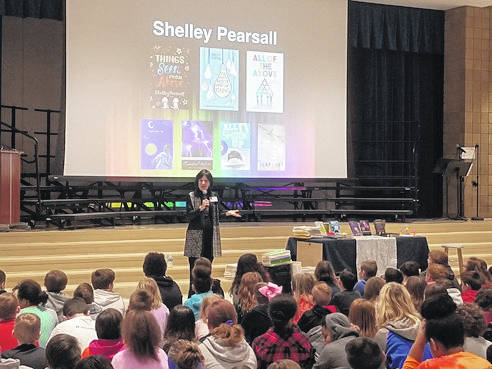 PCIS students welcomed acclaimed author Shelley Pearsall! Mrs. Pearsall presented to the whole student body where she shared about her writing process and how she faced rejection that finally lead to success. Students also enjoyed a Writers Workshop focusing on Characterization. Using a variety of shoes as inspiration, students crafted their characters attributes and wrote introductions to entice their readers. Mrs. Pearsall's visit was made possible with grants provided by the Miami County Foundation, Piqua Community Foundation, and hotel accommodations were provided by The Comfort Inn of Piqua. Thanks to these organizations for their support in helping to bring this amazing experience to our students.
