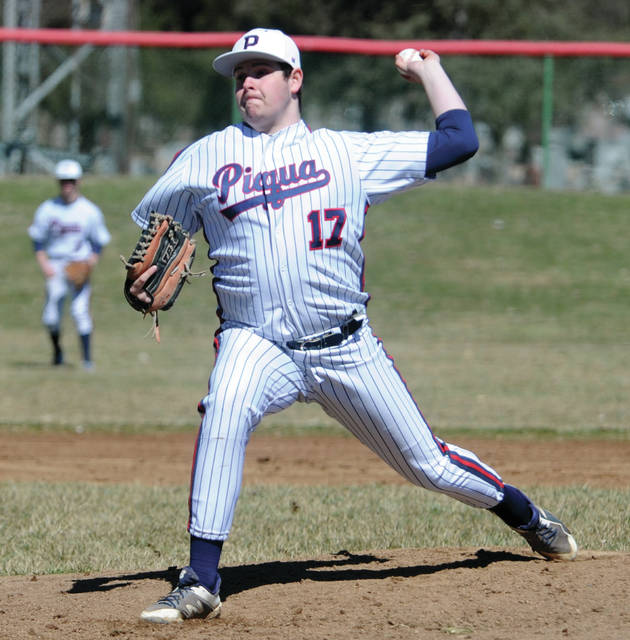 Mike Ullery | Miami Valley Today file Piqua's Iverson Ventura pitches during an opening day game last year. Friday, the OHSAA announced that all spring sports activities were postponed until at least April 6, with the regular season tentatively beginning on April 11.