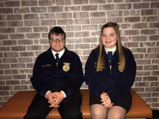 Milton-Union MVCTC FFA Chapter members Darby Welbaum and Jackson Kimmel will compete in the District 5 FFA public speaking contest.