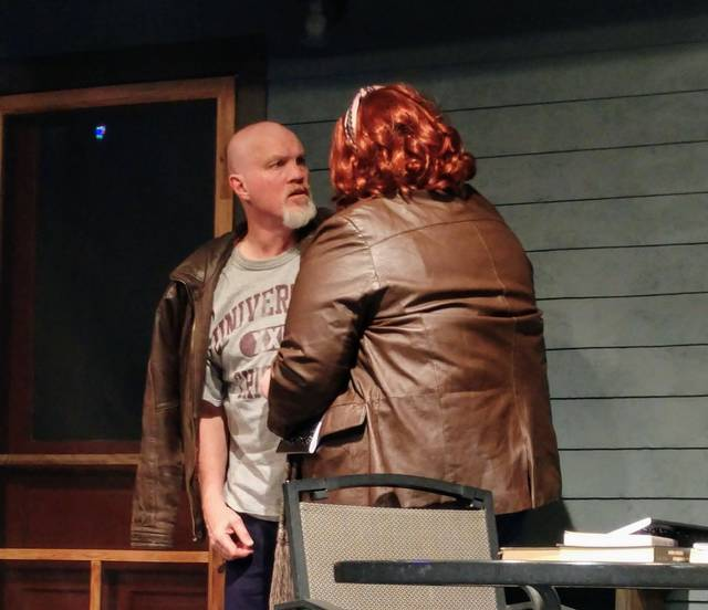 "Provided photo Steve Dietrich as Robert, Rachel Smith as Catherine in Troy Civic Theatre's ""Proof."""