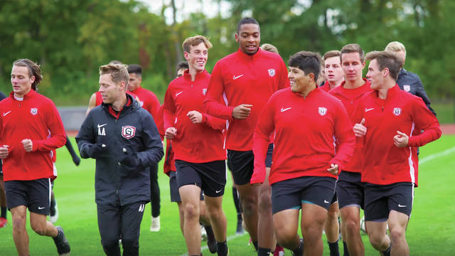 Photo courtesy Andrew Palladino | Grace College Members of the Grace College men's soccer team, including Bethel High School graduates Korry Hamlin and Tyler Brueckman, will participate in a 48-hour run to raise money for COVID-19 relief.