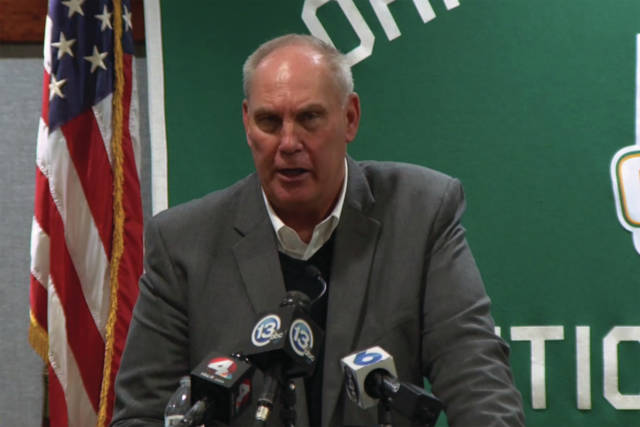 Screengrab from OHSAA.tv OHSAA Executive Director Jerry Snodgrass provides updates on the status of the postponed winter sports tournament, as well as the upcoming spring sports season, during a press conference Thursday.