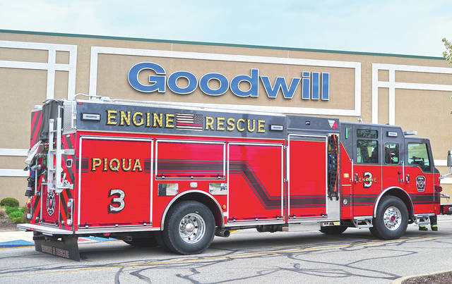 Piqua Rescue Engine 3, sits in front of the Goodwill Store on East Ash Street on Wednesday afternoon. A fire alarm at the business saw Piqua Fire Department respond to the scene around 12:40 p.m. After a thorough search, it was determined to a be a false alarm.