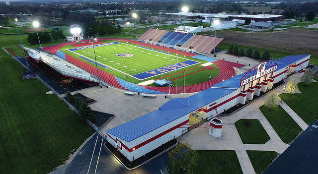 The lights at Alexander Stadium/Purk Field shine brightly on Monday as Piqua City Schools joined many other area schools in a show of support, honoring the Class of 2020 by turning on stadium lights for 20 minutes, beginning at 2020 hours (military time) on the 20th day of the month. For a story on the county-wide show of support, see Page 8 of Wednesday's Miami Valley Today.
