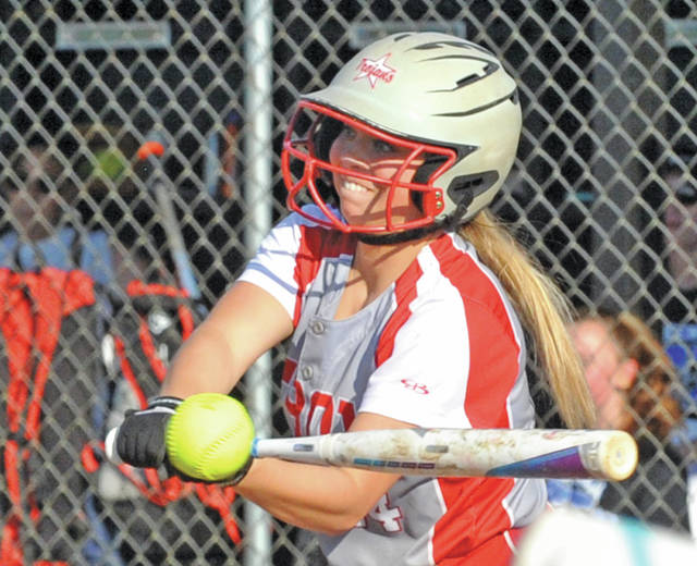 Josh Brown   Miami Valley Today file Troy's Ella Furlong makes contact during a postseason softball game last year.