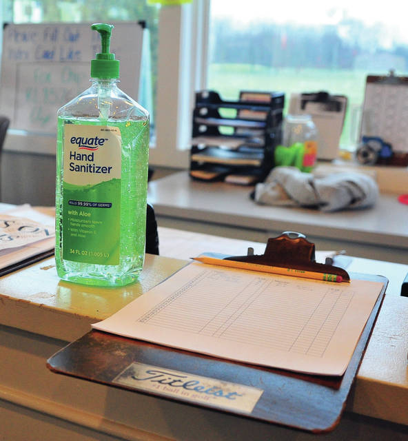 Mike Ullery|MVT File Photo Hand sanitizer is kept on the counter at Echo Hills Golf Course.