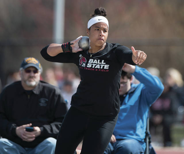 Photo courtesy of Ball State University Ball State University's Kelsey Walters, a Troy High School graduate, throws the shot put for the Cardinals. Walters completed her senior year owning the school's record in the shot put in both outdoor and indoor track and field.