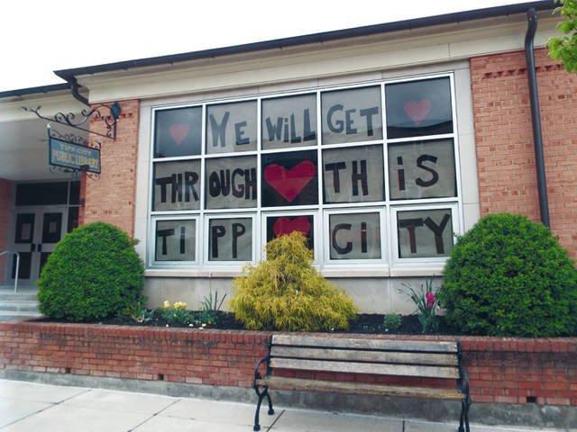 Matt Clevenger | For Miami Valley Today The Tipp City Public Library's remind residents to stay strong during the coronavirus pandemic.