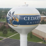 Yellow jacket flying over Cedarville