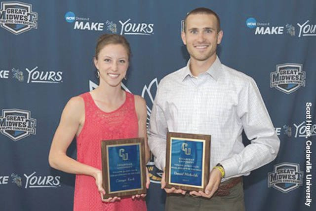 NCAA Division II national track & field champions Carsyn Koch (left) and Daniel Michalski were named the 2016-'17 Yellow Jacket Club athletes of the year by a panel of Cedarville University coaches.