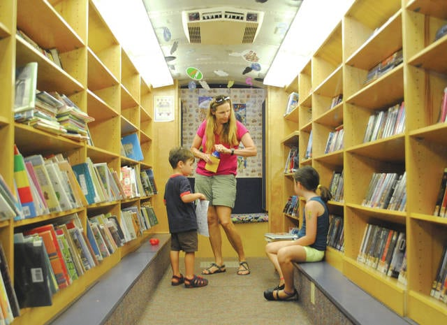 Whitney Vickers | Greene County News The bookmobile made an appearance at the Yellow Springs Community Library July 28, with visits scheduled for neighboring Greene County libraries.