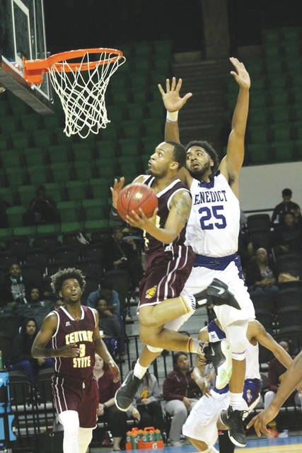 Keilan Blanks drives for a score in a game last season against Benedict College. Blanks and Central State University teammate Dwight Richards, Jr. attended the National Basketball Players' Association HBCU Top 50 Camp in Atlanta last week.
