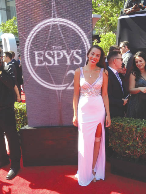 Cedarville University student-athlete Grace Norman poses on the red carpet prior to the 2017 ESPY Awards show, July 12, in Los Angeles. Norman, a below-knee amputee who won the women's paratriathlon and finished third in the women's 400-meter run at the 2016 Paralympic Games in Rio de Janeiro, Brazil, is nominated for Best Female Athlete With A Disability.