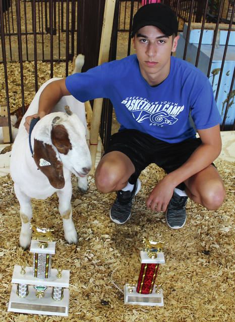 Anna Bolton | Greene County News Gabe Caudill earned grand champion and reserve champion for two of his market goats.