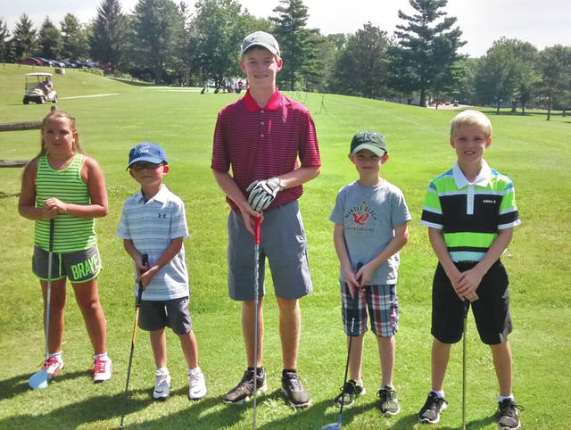 Winners of the annual WGC golf course Junior League golf scramble tournament were: (left to right) Rosie Gray; Owen Brockman; Tyler Goecke; Elliot Houser; and Kaleb Goecke. The fivesome set a new Junior League golf scramble tournament record with a score of 7-under-par 27 over nine holes on the Xenia course.