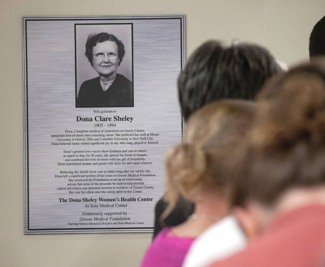 Submitted photo The new Women's Center at Soin Medical Center is named after Jamestown resident Dona Sheley.