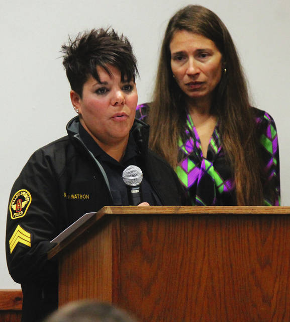 Anna Bolton | Greene County News Sargent Naomi Watson, Yellow Springs Police Department, and Family Violence Prevention Center Executive Director Debbie Matheson spoke during the ceremony about measuring tapes that will be given to victims to help monitor swelling after non-fatal strangulation.