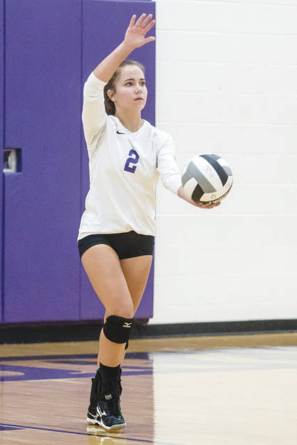 Annie Orbash of Bellbrook puts up a serve in an earlier match this season. Bellbrook is the No. 3 seeded team in the Division II girls high school volleyball sectional tournament.