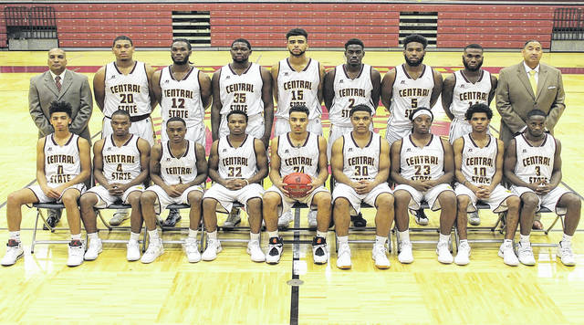 Submitted photo The Central State University men's basketball team includes: Orian Monford, Davone Daniels, Joey Williams, Javon Stovall, Tom Johnson, Terence Gholston, Bishop James, Martin Oliver, Frank Barber III, Chris Scott, Malachi Hughes, Adam Slappy, Akil Cornish, Jeremy Brown, Dwight Richards Jr., Sterling Gilmore and Chris Cook.