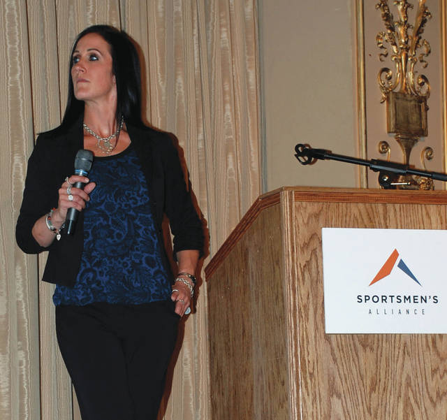 Submitted Photo Melissa Bachman of Winchester's Deadly Passion show was the keynote speaker at the Sportsmen Alliance Ohio Rally.