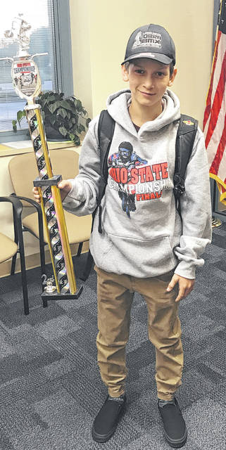 Nolan Brown, a seventh grader at Greeneview Middle School, finished second in the 12 Novice race during the state BMX championship in Akron.