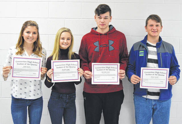 Submitted photo Greeneview High School named its students of the quarter for the first quarter. Pictured (left to right) are senior Molly Nixon; junior Brooklyn Biggs; sophomore Luke Evans; and freshman Trever Cottrell.
