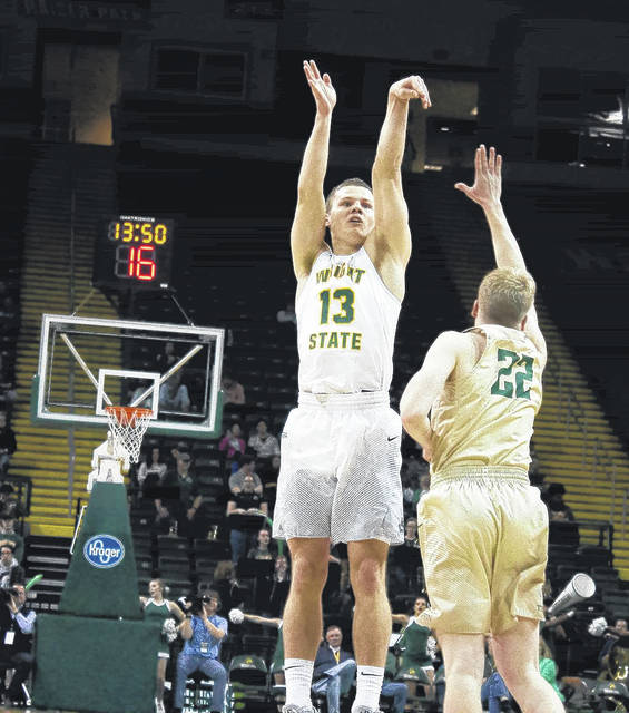 Submitted photo Wright State University Raider Grant Benzinger, a senior from Cincinnati, scored his 1,000th point in a win over Tiffin.