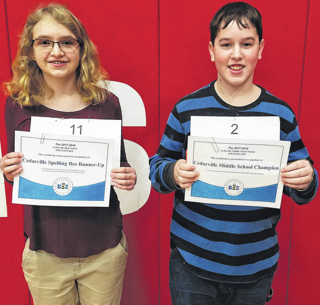 Submitted photo Cedarville Middle School recently held its spelling bee. Eighth grader Daniel Allen was the winner, while seventh grader Haylee Florkey was the runner-up.