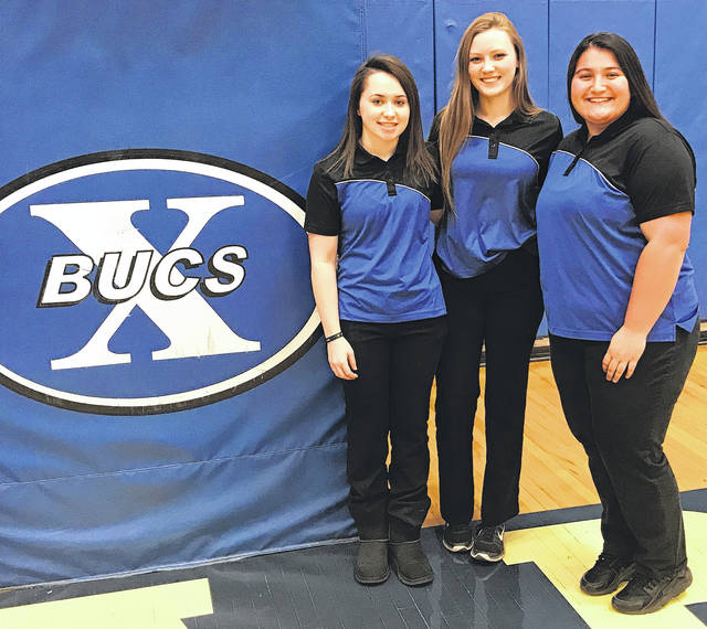 Scott Halasz | Greene County News Kailee Palecek, left, Gillian Miller, center, and Caity Moody, right, have sparked the Xenia High School girls bowling team this season.