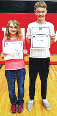 Submitted photos Hayden Hanson, left, was the Cedarville Middle School geography bee champion, while Haylee Florkey, left, was the runner-up.