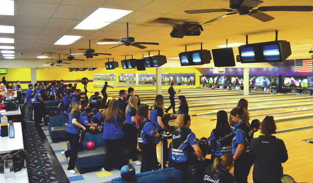 Bowl 10 Lanes was a sea of black and blue as Greater Western Ohio Conference rivals Fairborn and Xenia competed in boys and girls varsity and junior varsity bowling, Jan. 25 in Fairborn.